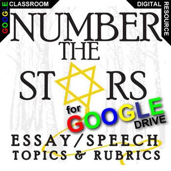 NUMBER THE STARS Essay Prompts and Speech w Rubrics (Creat