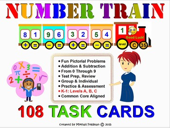 ADDITION & SUBTRACTION 108 Task Cards. K-1 Common Core Ali