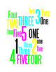 NUMBERS 1 THROUGH 5 - 2 WORD POSTERS - WHITE BACKGROUND WI