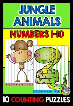 JUNGLE ANIMALS COUNTING PUZZLES: NUMBERS 1 TO 10