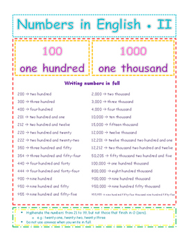 NUMBERS IN ENGLISH - FROM O TO 999,999