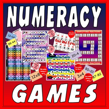 NUMERACY BOARD GAMES- KS1 KS2 KS3 MATHS FRACTIONS NUMBERS