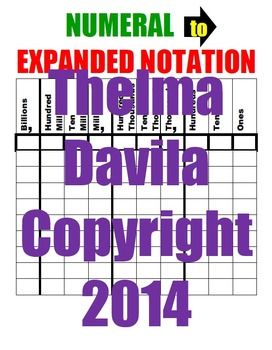 NUMERALS to EXPANDED Form Blank Sheet