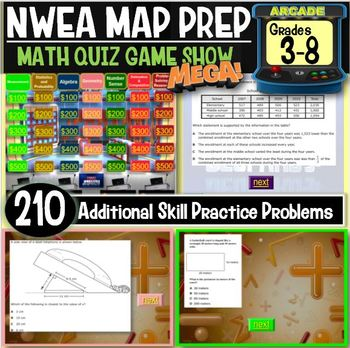 NWEA MAP Math practice questions Jeopardy Game Bundle (5 g