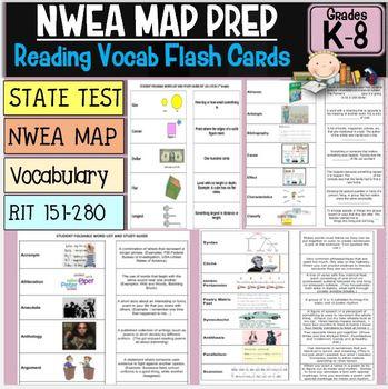 NWEA Reading MAP Foldover/Flash Card Complete RIT Vocabula