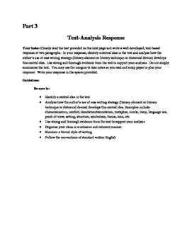NYS Common Core Regents ELA Exam, Part 3 Practice- the Two