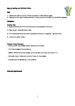 NYS Comprehensive English Regents: Just Part 3 Notes and R