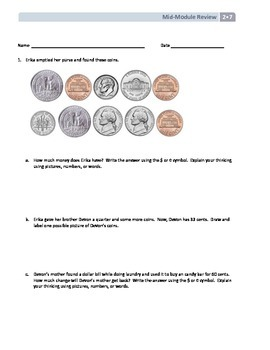 NYS Math - Grade 2 Module 7 Mid-Module Review Sheet (with