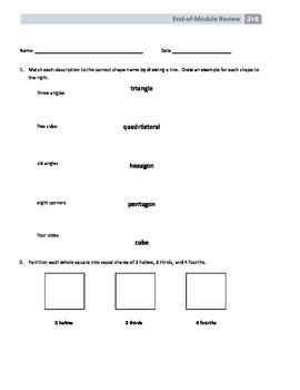 NYS Math - Grade 2 Module 8 End of Module Review Sheet (wi