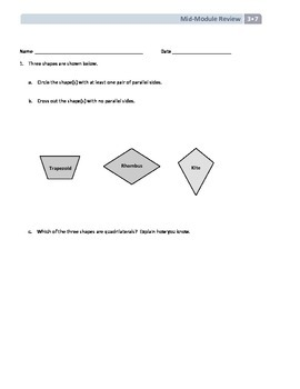 NYS Math - Grade 3 - Module 7 Mid-Module Review Sheet (wit