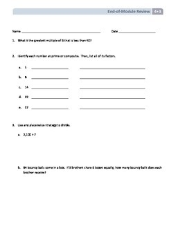 NYS Math - Grade 4 - Module 3 End of Module Review Sheet (