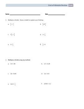NYS Math - Grade 5 - Module 4 End of Module Review Sheet (