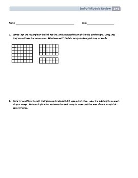 NYS Math - Grade 3 - Module 4 - End-of-Module Review with