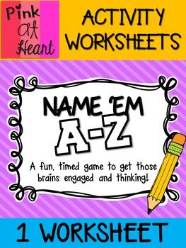 Name 'Em A-Z Activity FREEBIE