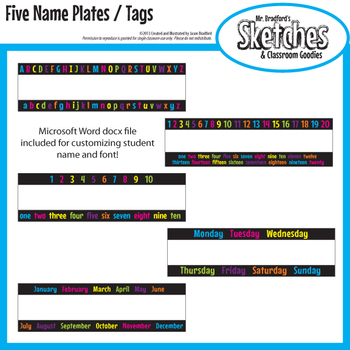 Name Plate / Desk Tag Variety Pack ABC's, 123's, Days of t