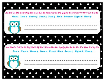 Name Plate Owl with Black White Polka Dot 11x3 with Alphab