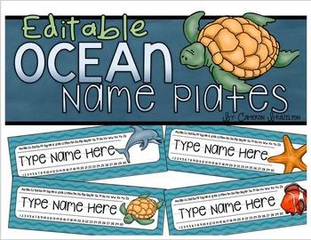 Name Plates Desk Labels Ocean Under the Sea Theme Editable