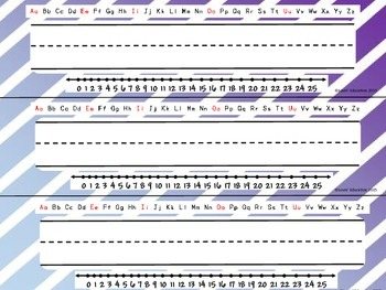 Name Plates - Desk Tags - Blue and Purple Diagonal Stripes