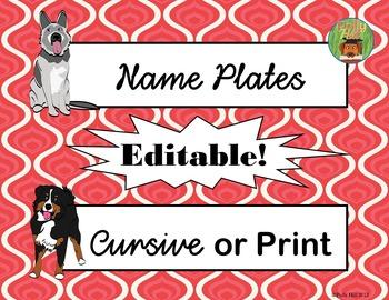 Name Plates: Dog Themed (red) {EDITABLE!}