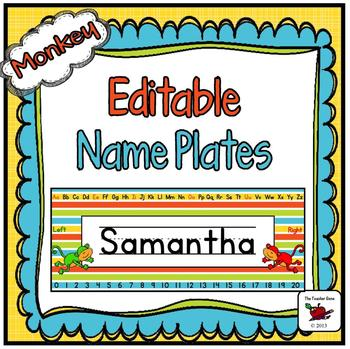 Name Plates Editable - Monkey Themed