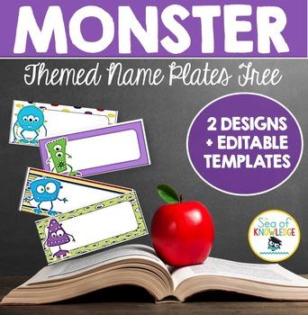 Name Plates Monster Themed