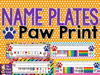 Name Plates Paw Prints Theme