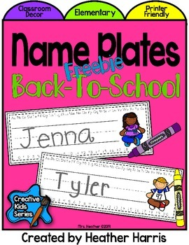 Name Plates for Back To School
