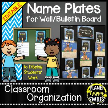 Name Plates for Student Work (EDITABLE) Aqua and Chalkboard Theme