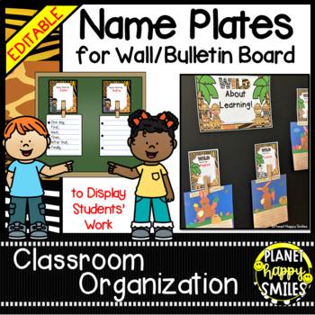 Name Plates for Student Work ~ Jungle/Safari Theme