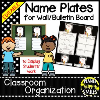 Name Plates for Student Work ~ Polka Dot B/W Print