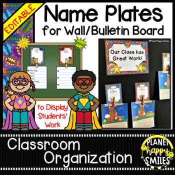 Name Plates for Student Work ~ Super Hero Theme (EDITABLE)