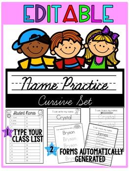 Name Practice {Editable} Cursive