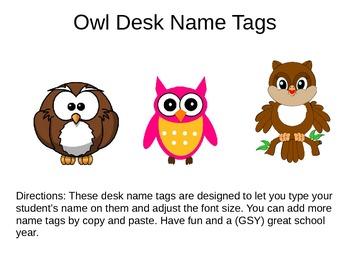 Desk Name Plates -- Owls