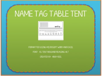 Name Tag Table Tent