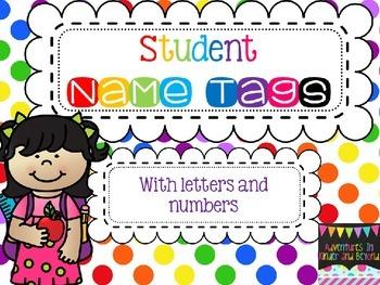 Name Tags- Colorful Polka Dots