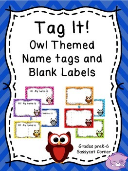 Name Tags / Blank Labels - Owls and Chevron Theme - Classr