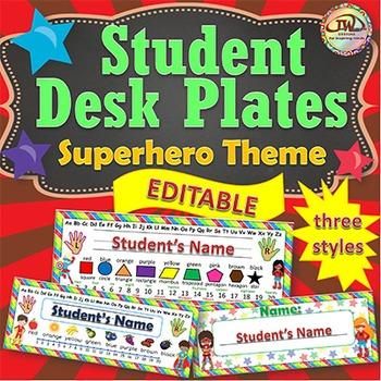 Name Tags Desk Plates EDITABLE Superhero Themed