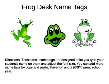 Desk Name Plates --  Frogs