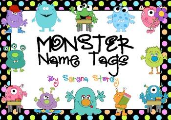 FREE & EDITABLE Name Tags- Monster and Neon Polka Dot Design