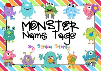 Name Tags- Monsters with bright stripey background
