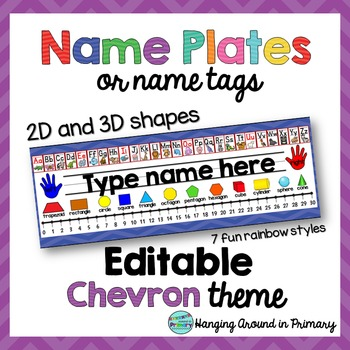 EDITABLE Name Tags / Name Plates - 2D and 3D Shapes - Chevron