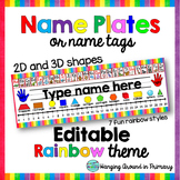 EDITABLE Name Tags / Name Plates - 2D and 3D Shapes - Rainbow