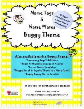 Name Tags and Name Plates Buggy Theme