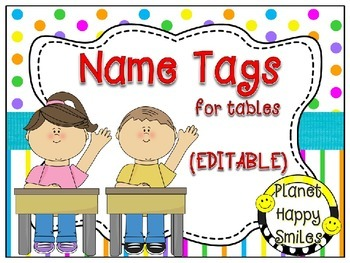 Name Tags for Student desks (EDITABLE) ~ Bright Polka Dots