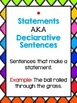 Types of Sentences Mini-Lesson,  Anchor Charts, and Asses