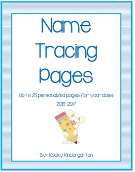 Name Tracing Pages 2016 2017