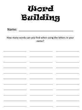 Name Word Builder