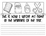 Name Writing Beginning and End of Year