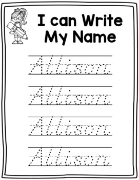 Name Writing Practice in D'Nealian-- Trace Paper (Editable)