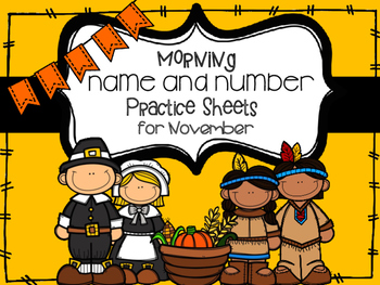 Name and Number Practice Sheets for November Handwriting